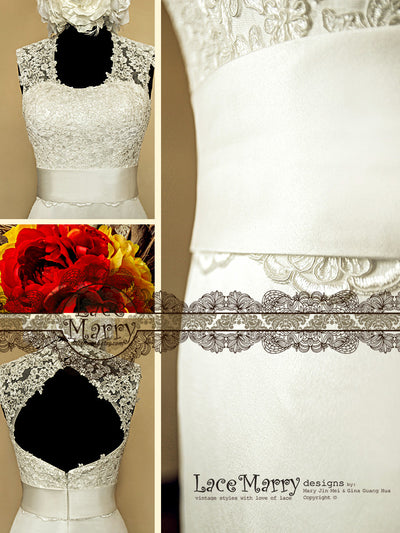 scoop neckline handmade lace wedding dress