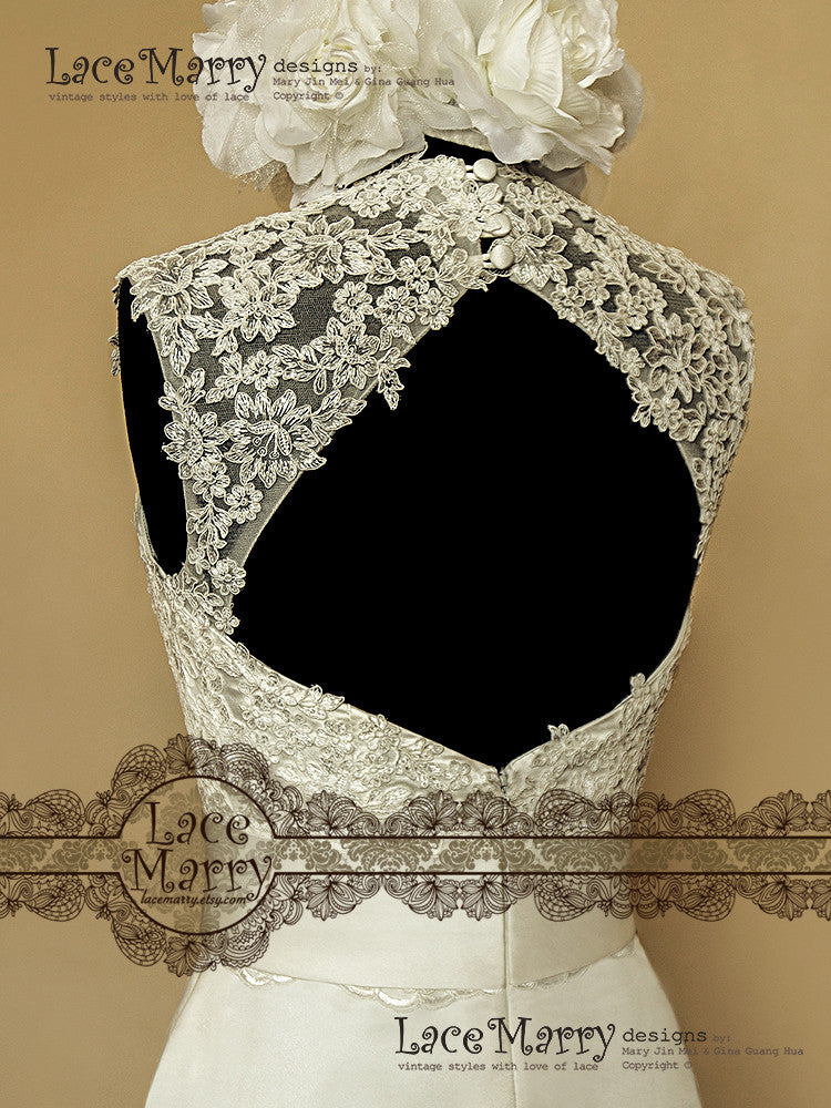 keyhole back vintage style wedding dress