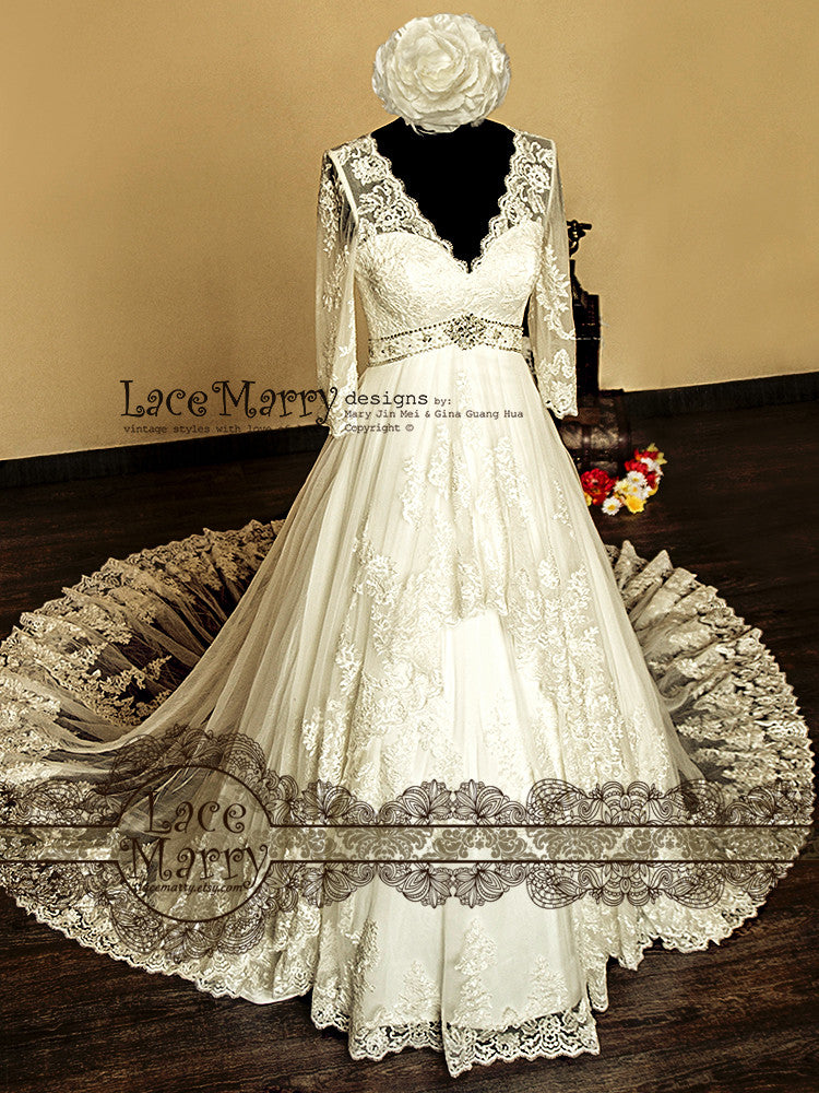 Ornate Vintage Inspired A Line Lace Wedding Dress