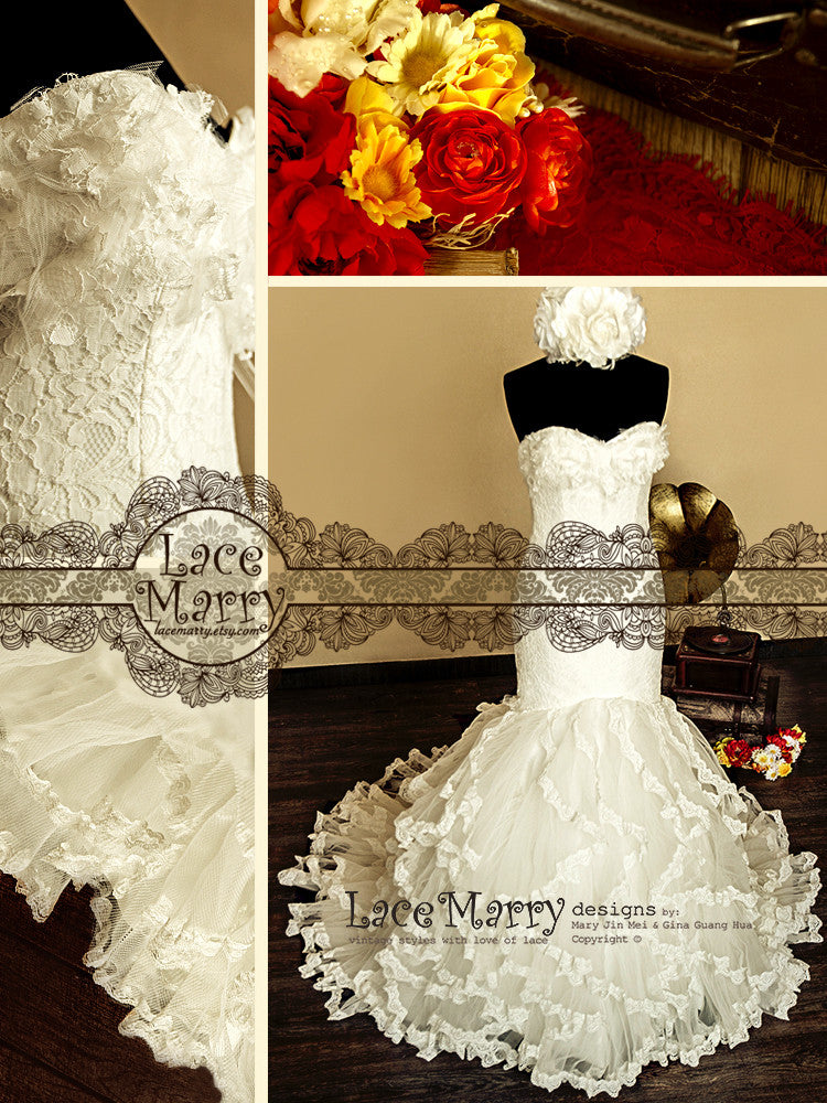 Frilled Style Skirt Lace Wedding Dress