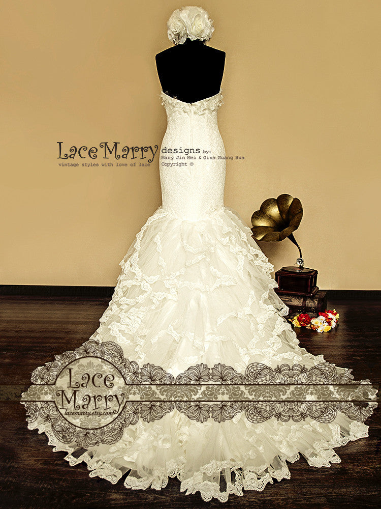 Frilled Skirt Mermaid Style Lace Wedding Dress