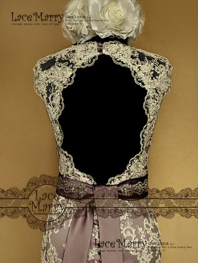 Keyhole Back with Scalloped Lace Edges