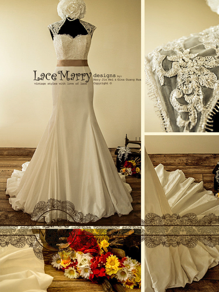 Illusion Neckline Taffeta Skirt Wedding Dress
