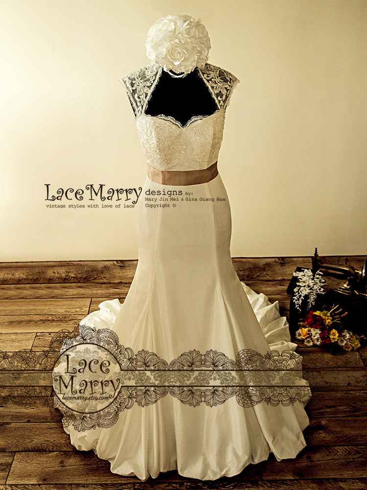Fascinating vintage style wedding dress with beaded lace for Beaded vintage style wedding dresses