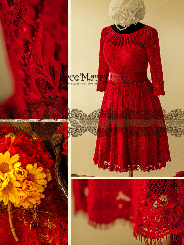 Red Knee Length Wedding Dress All Over Lace with Sash