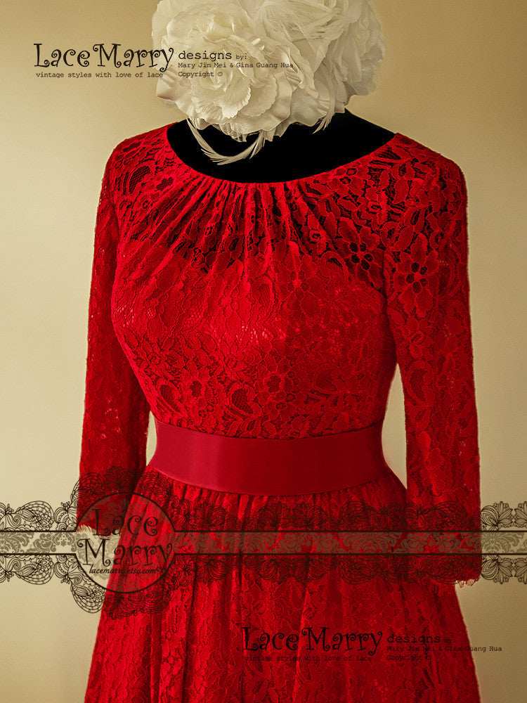 Handmade Red Lace Wedding Dress