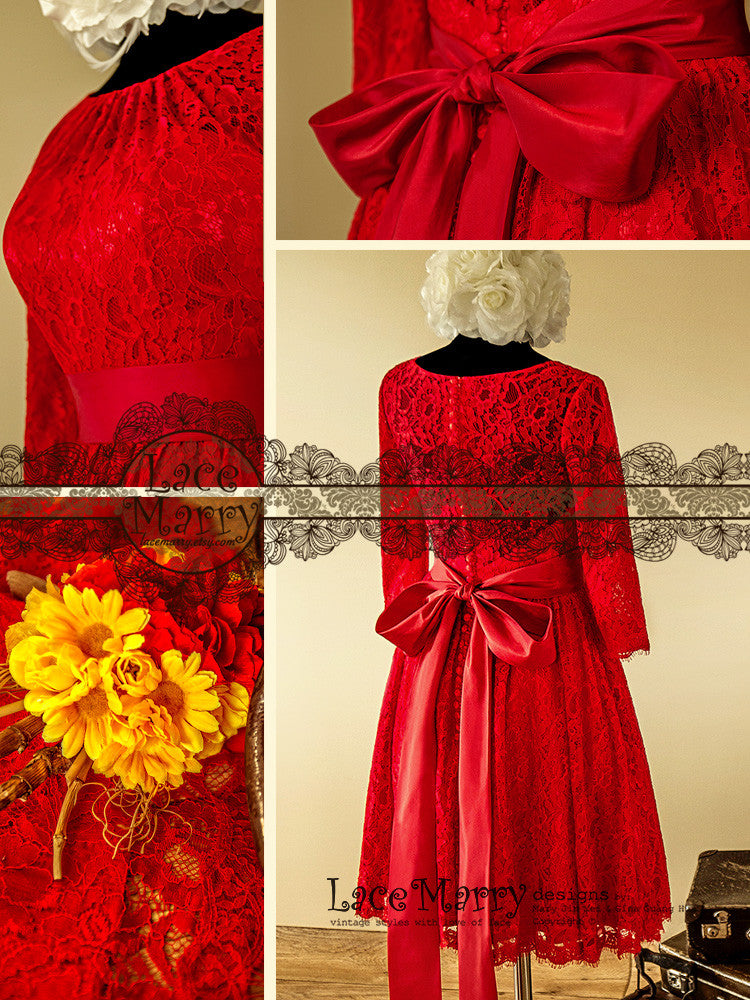 Knee Length Red Lace Dress