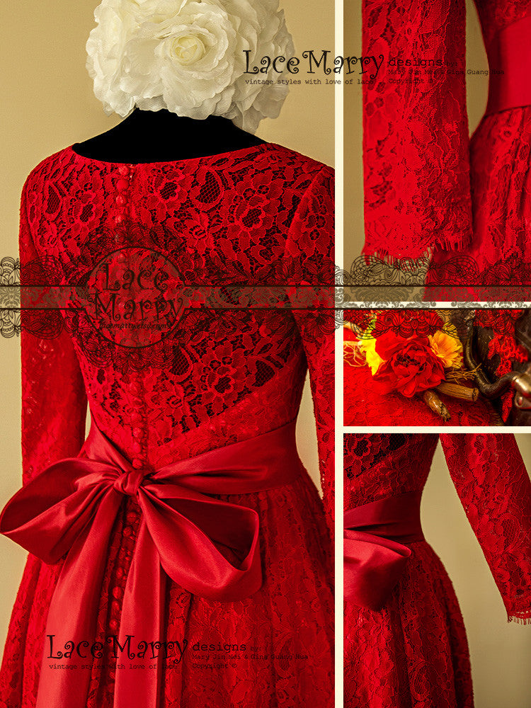 Full Lace Back Red Wedding Dress