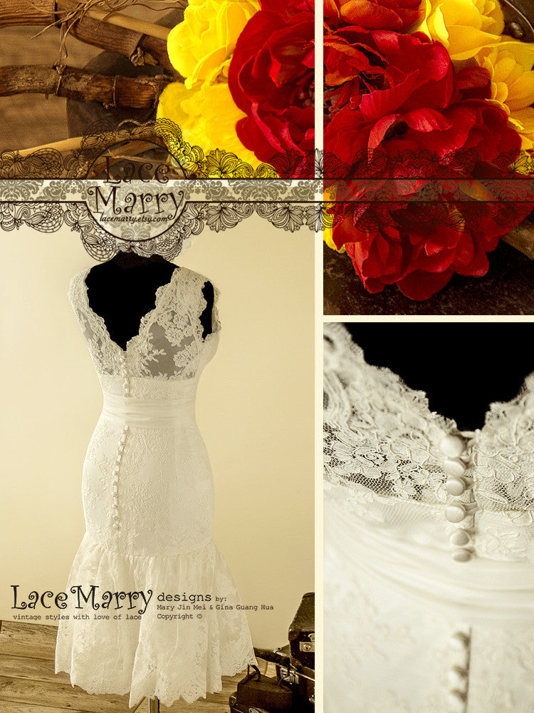 Knee Length Lace Wedding Dress