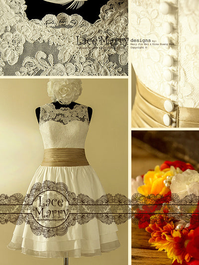 Knee Length Handmade Lace Wedding Dress