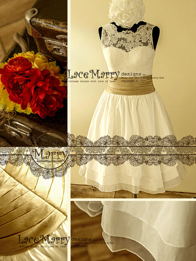 Short Wedding Dress with Lace Top