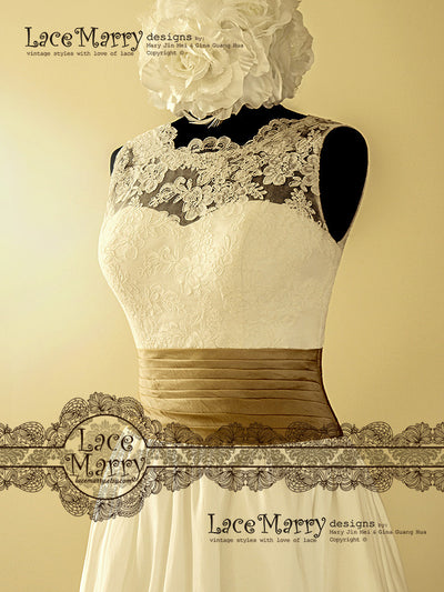 Lace Wedding Dress with Wide Golden Sash