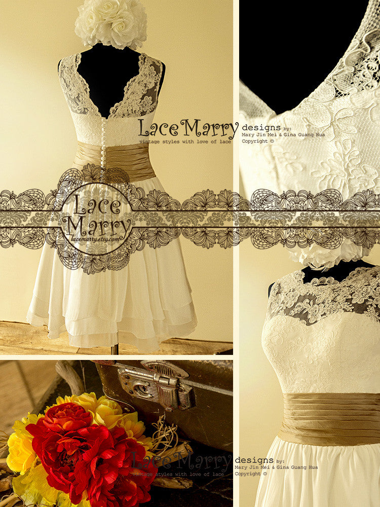 Short Wedding Dress with Illusion Neckline and V Cut Back