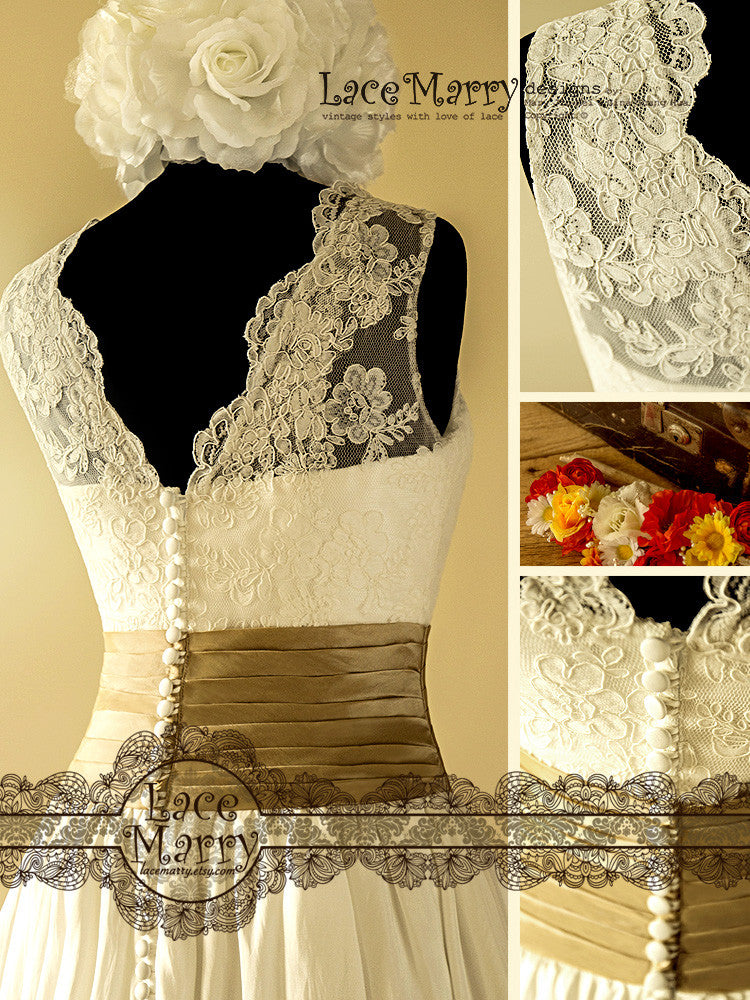 Charming short vintage style lace overlay top wedding for Lace overlay wedding dress