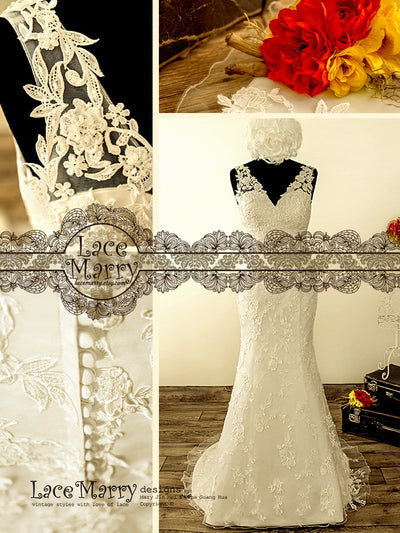 Slim A Line Handmade Wedding Dress with Handmade Beading