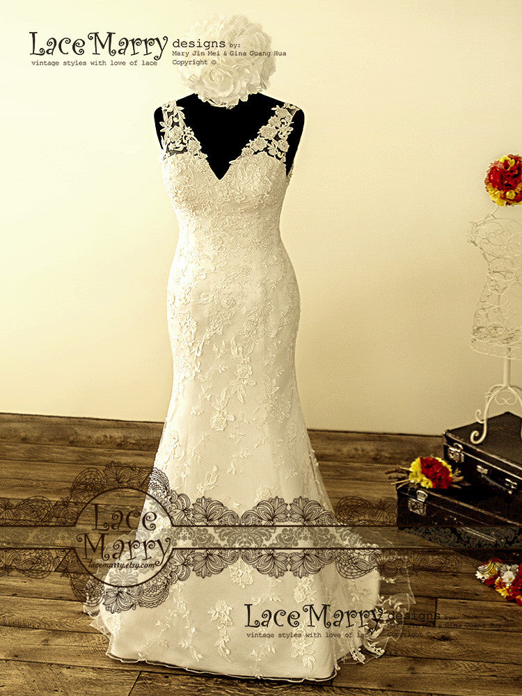V Neckline Wedding Dress with Scalloped Edges