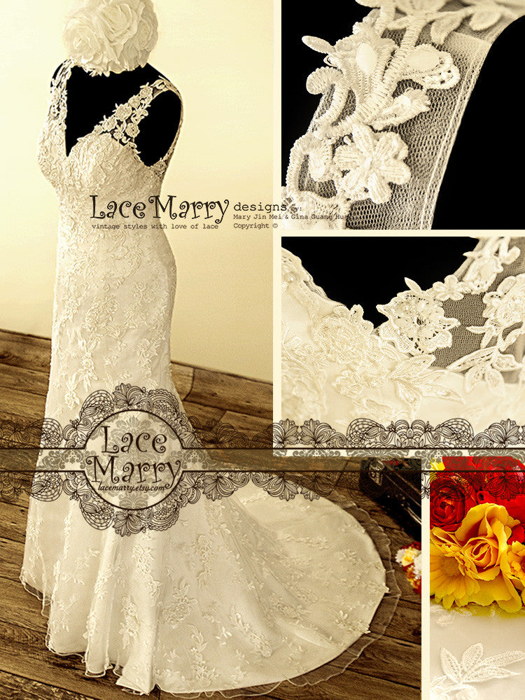 Hand Beaded Flower Applique Wedding Dress with Deep V Back