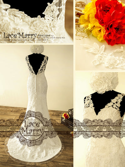 Deep V Cut Back Wedding Dress with Handmade Beading