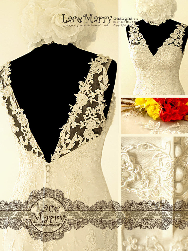 Deep V Back Flower Applique Wedding Dress