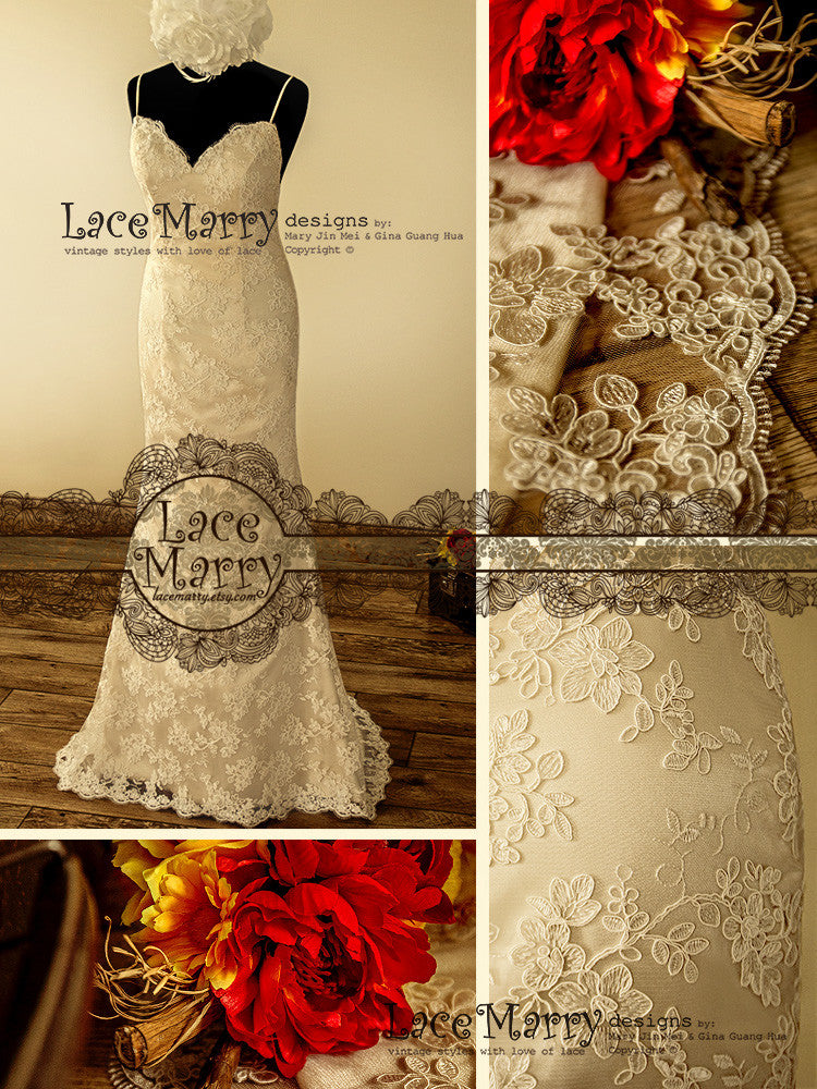 Slim A-Line Style Handmade Wedding Dress