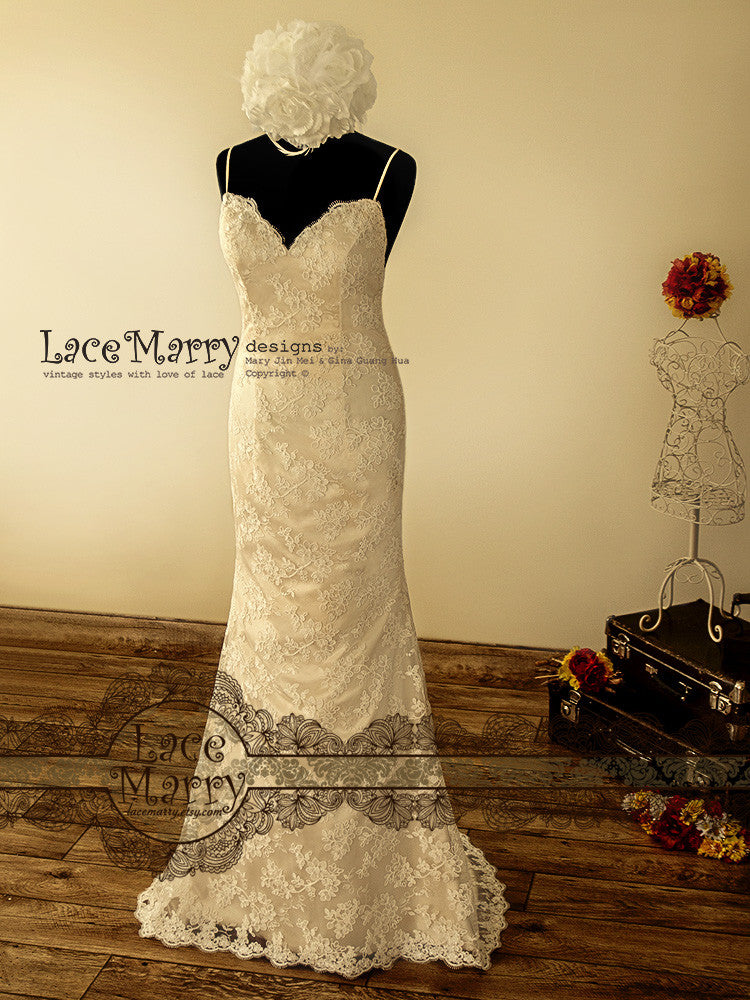 Vintage Inspired Wedding Dress in Dark Champagne Color