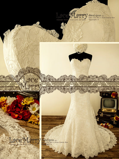 Lace Wedding Dress Features Fitted Silhouette and Chapel Train
