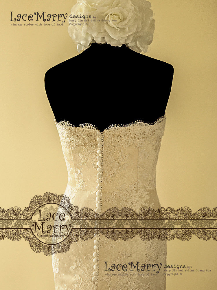 Dark Ivory Lace Wedding Dress
