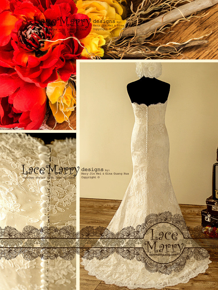 Handmade Lace Wedding Dress with Buttoned Back