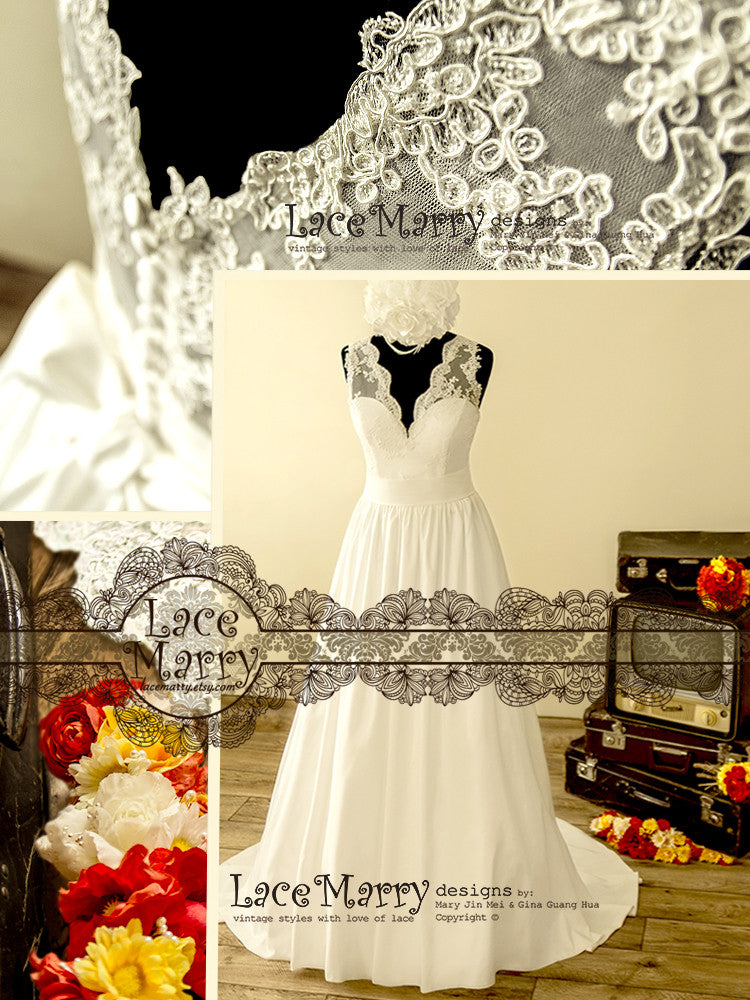 V Neckline Lace Wedding Dress