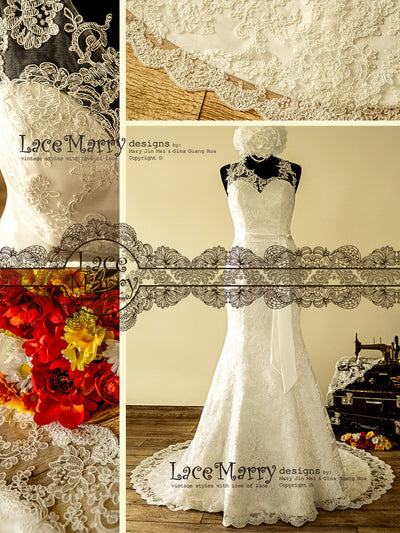 Illusion Neckline Handmade Wedding Dress