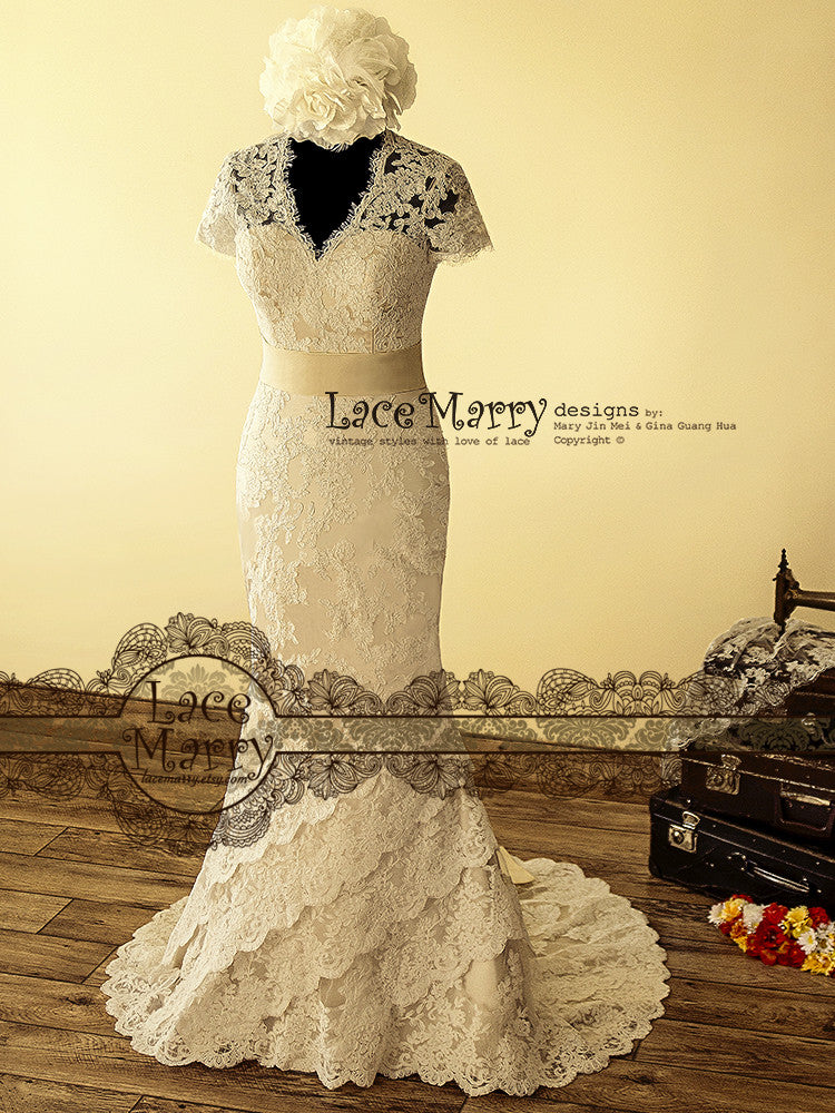 Dainty Cream Color Underlay Lace Wedding Dress
