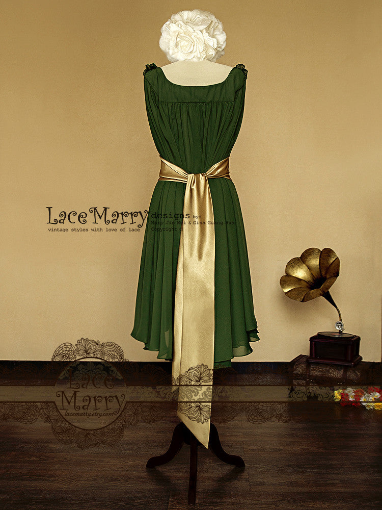 Green Chiffon Dress with Gold Sash