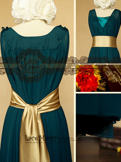 Blue Bridesmaid Dress with Gold Sash