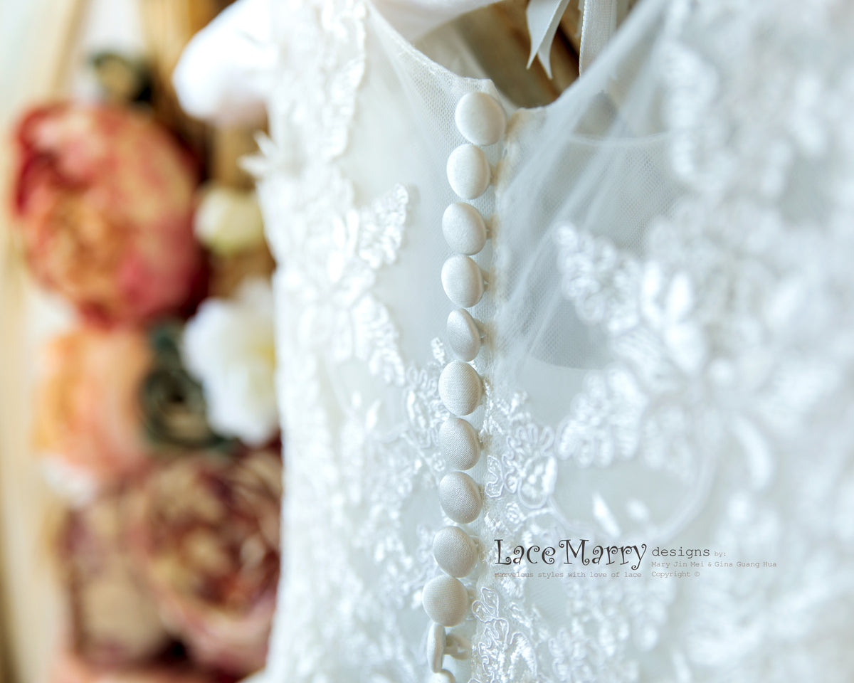 Beautiful Detail Flower Girl Dress from Lace and Tulle