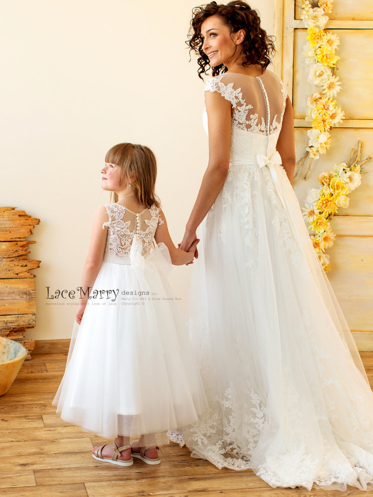 Lace and Tulle Flower Girl Dress with Big Bow