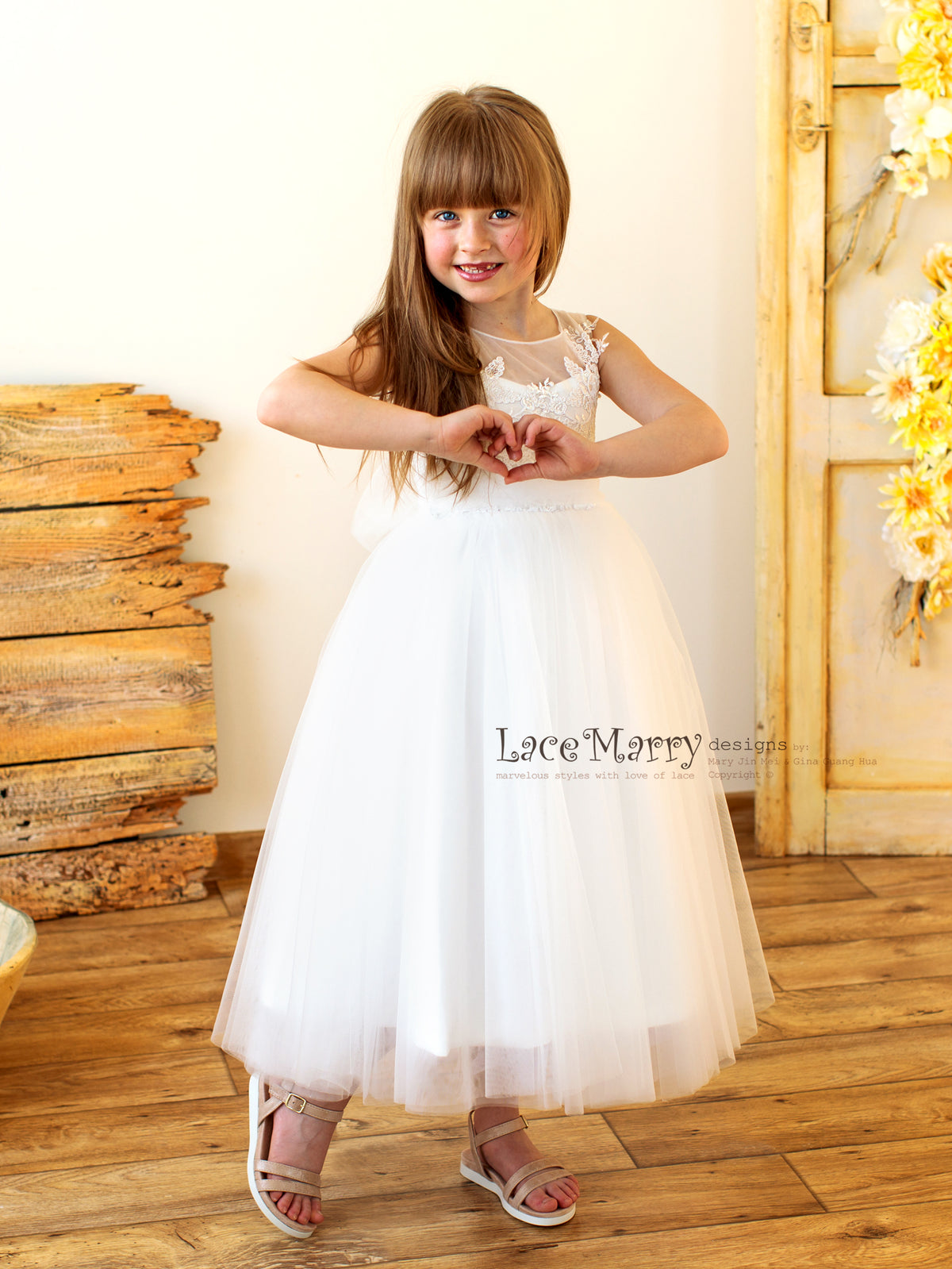 Little Bride Dress with Tulle Skirt