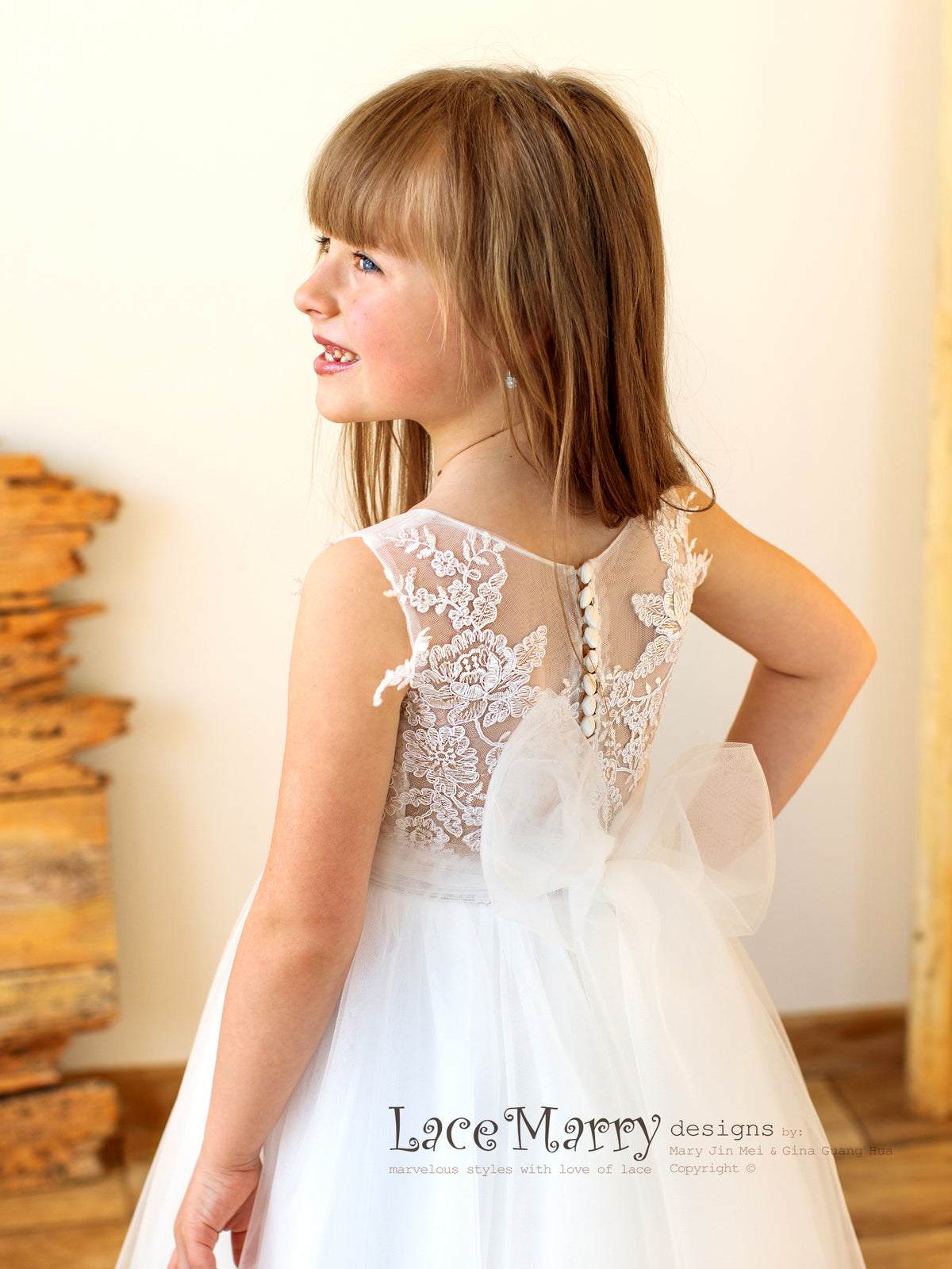 Lovely Flower Girl Dress with Illusion Lace Back and Big Bow