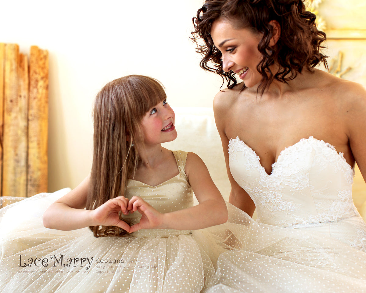 Polka Dot Tulle Flower Girl Dress with Diamond Neckline