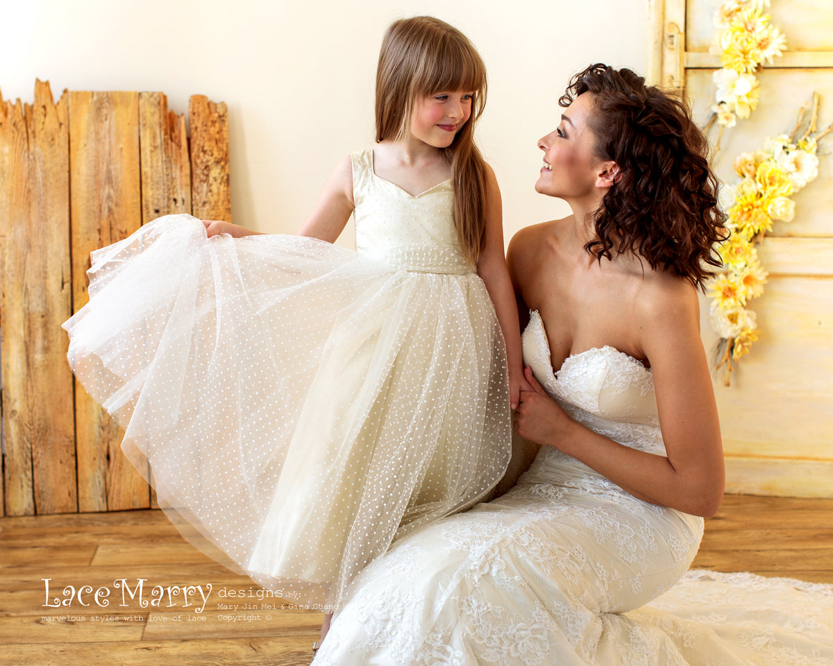Amazing Polka Dot Champagne Flower Girl Dress
