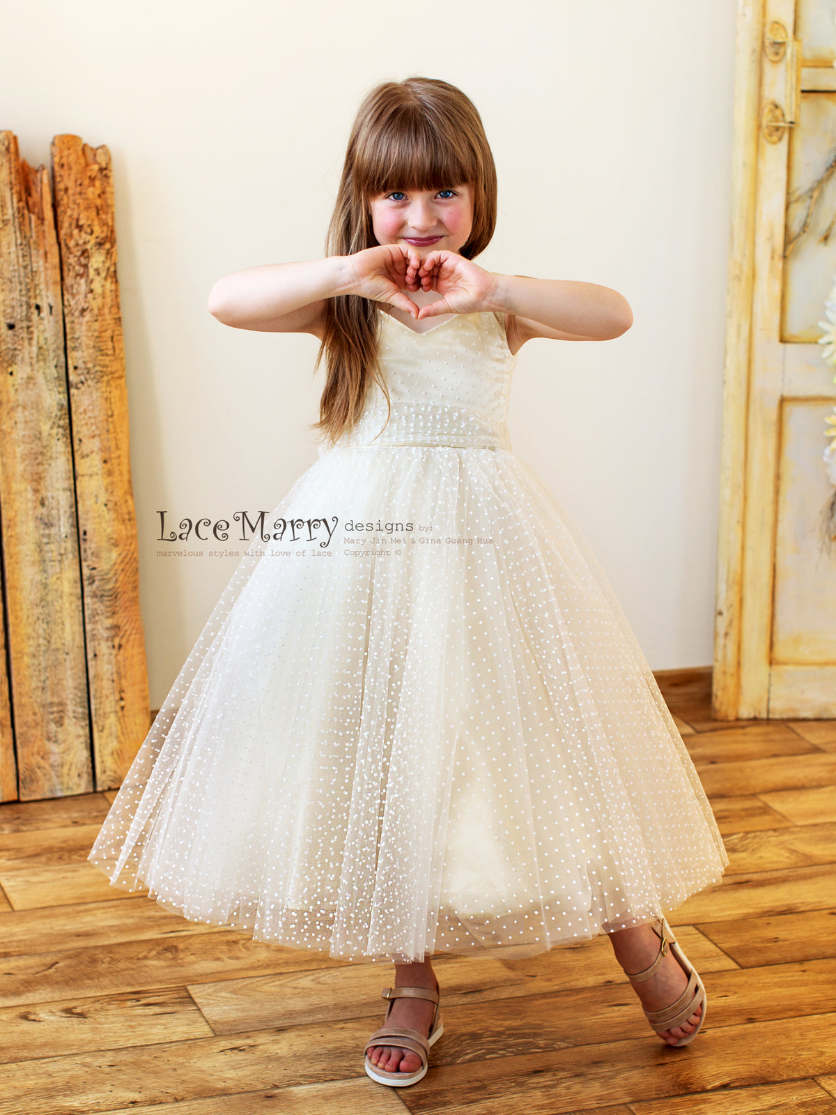 Flower Girl Dress with Polka Tulle