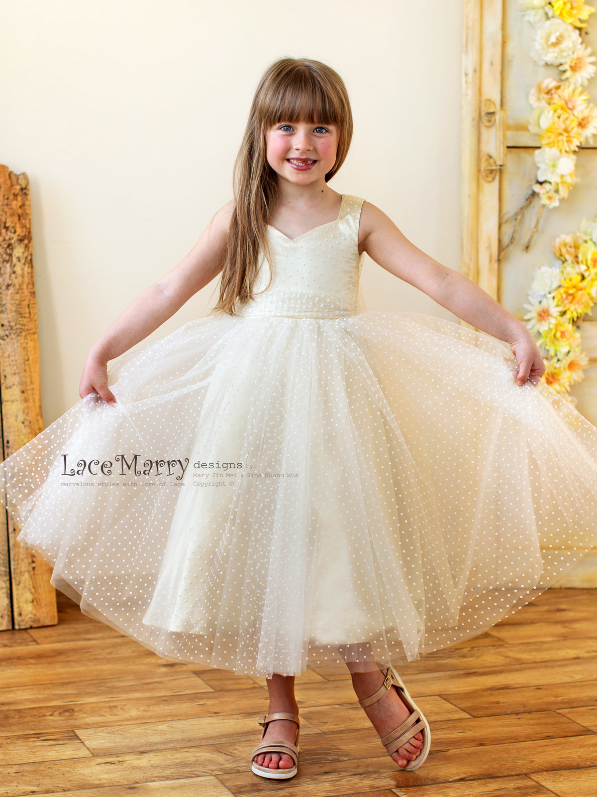 Polka Dot Flower Girl Dress with Champagne Silk Underlay