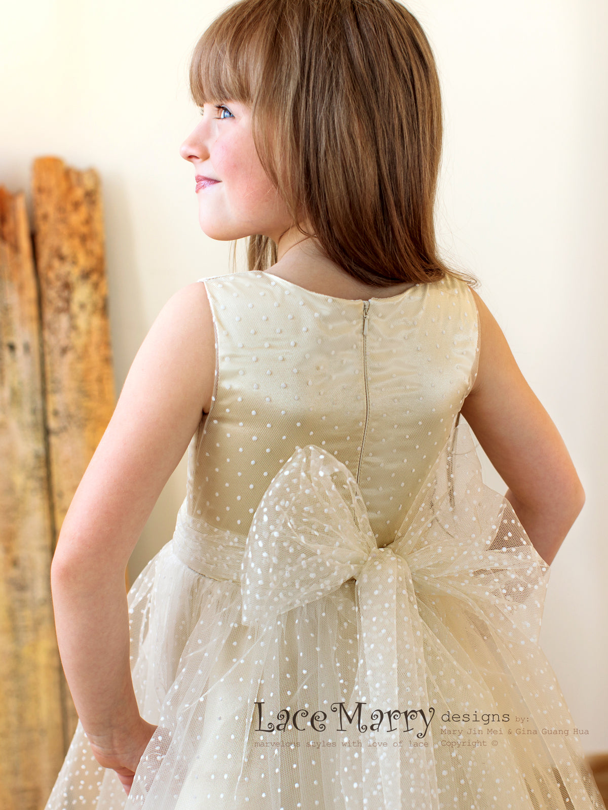 Champagne Flower Girl Dress with Big Bow