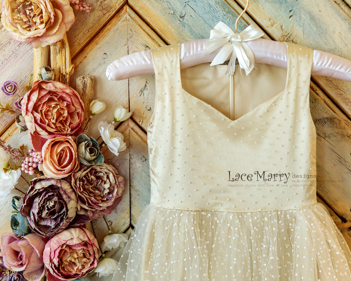 Diamond Neck Flower Girl Dress