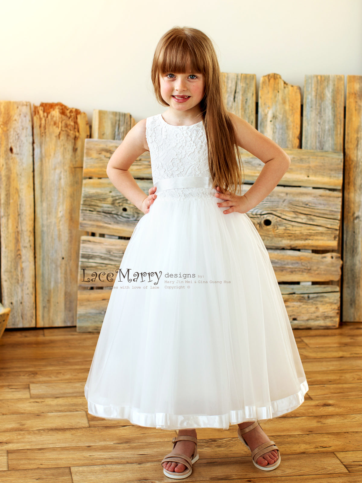 Scoop Neck Flower Girl Dress with Ribbon Trimmed Tulle Skirt
