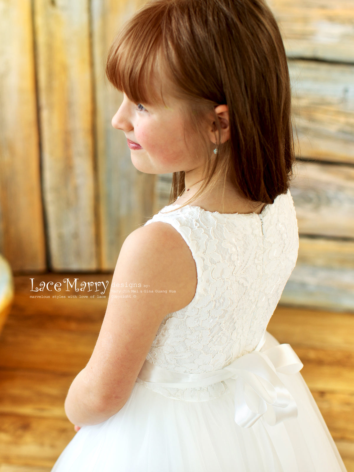 Soft Lace Top Flower Girl Dress
