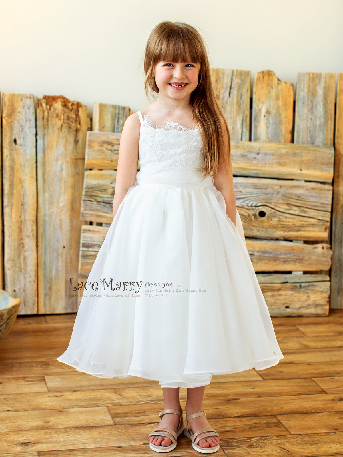 Flower Girl Dress with Lace Top and Organza Skirt