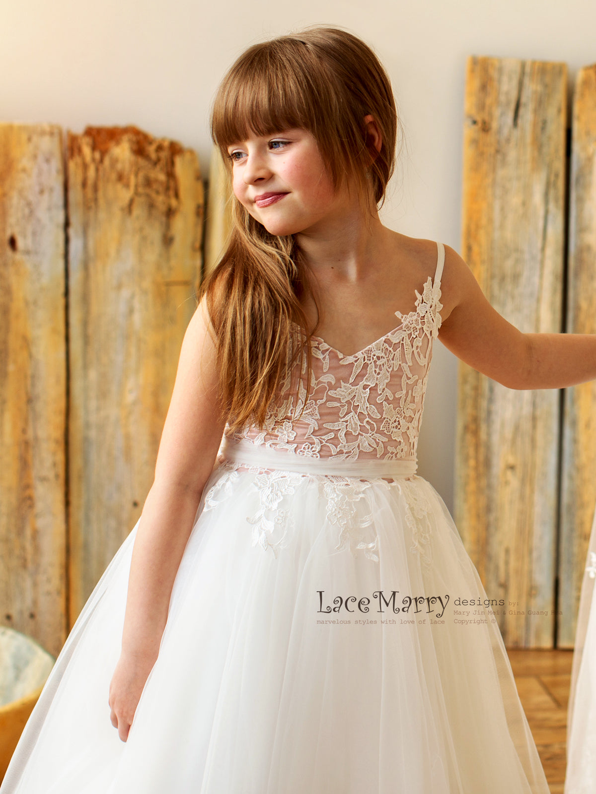 Blush and Ivory Flower Girl Dress with Straps