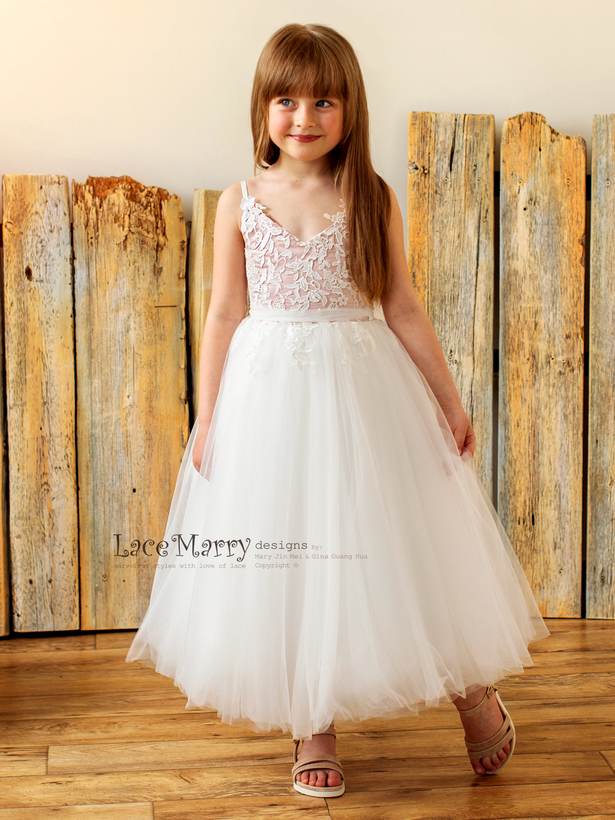 Sweet Flower Girl Dress for Rustic Wedding