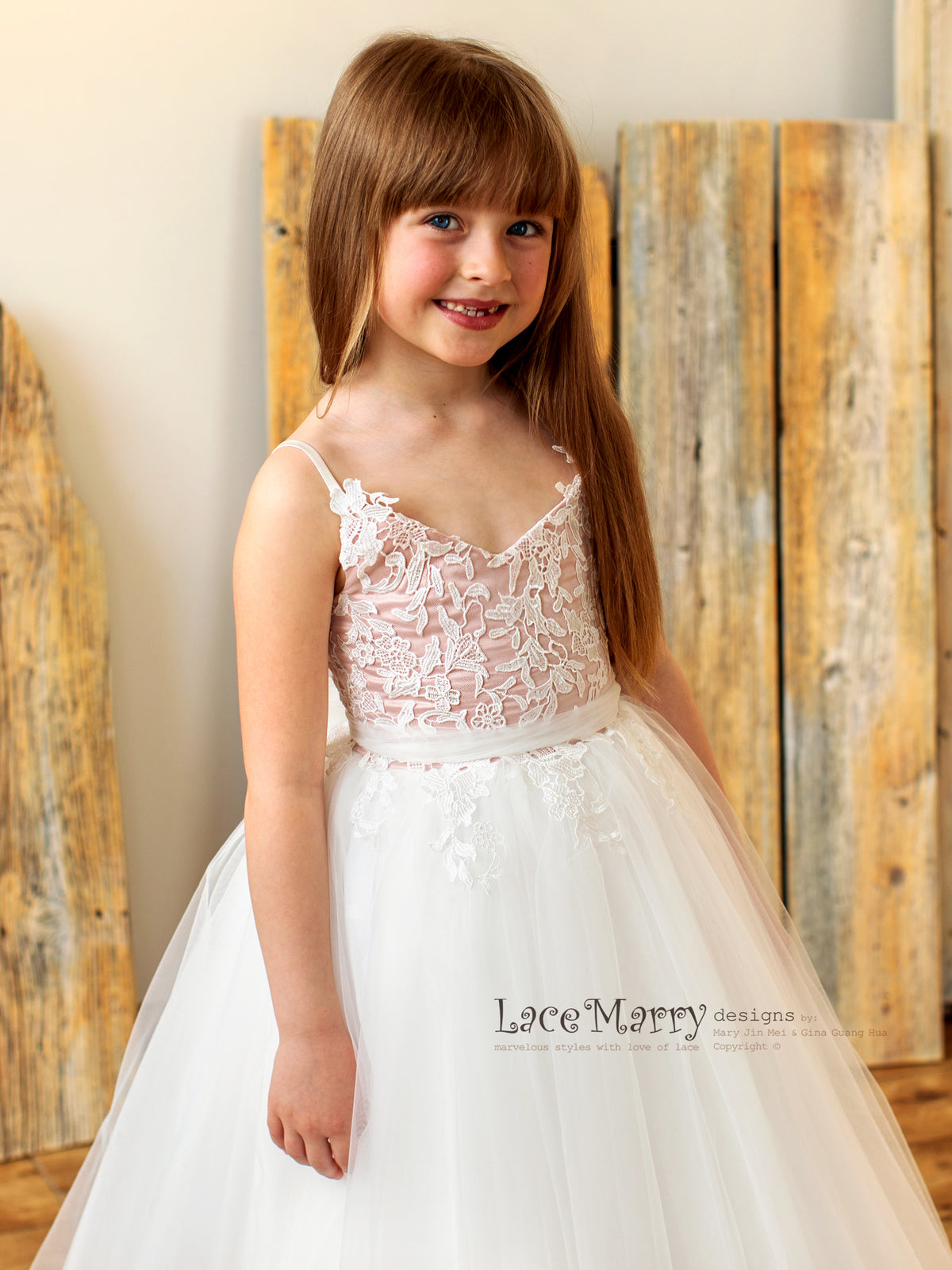 Blush and Ivory Junior Bridesmaid Dress