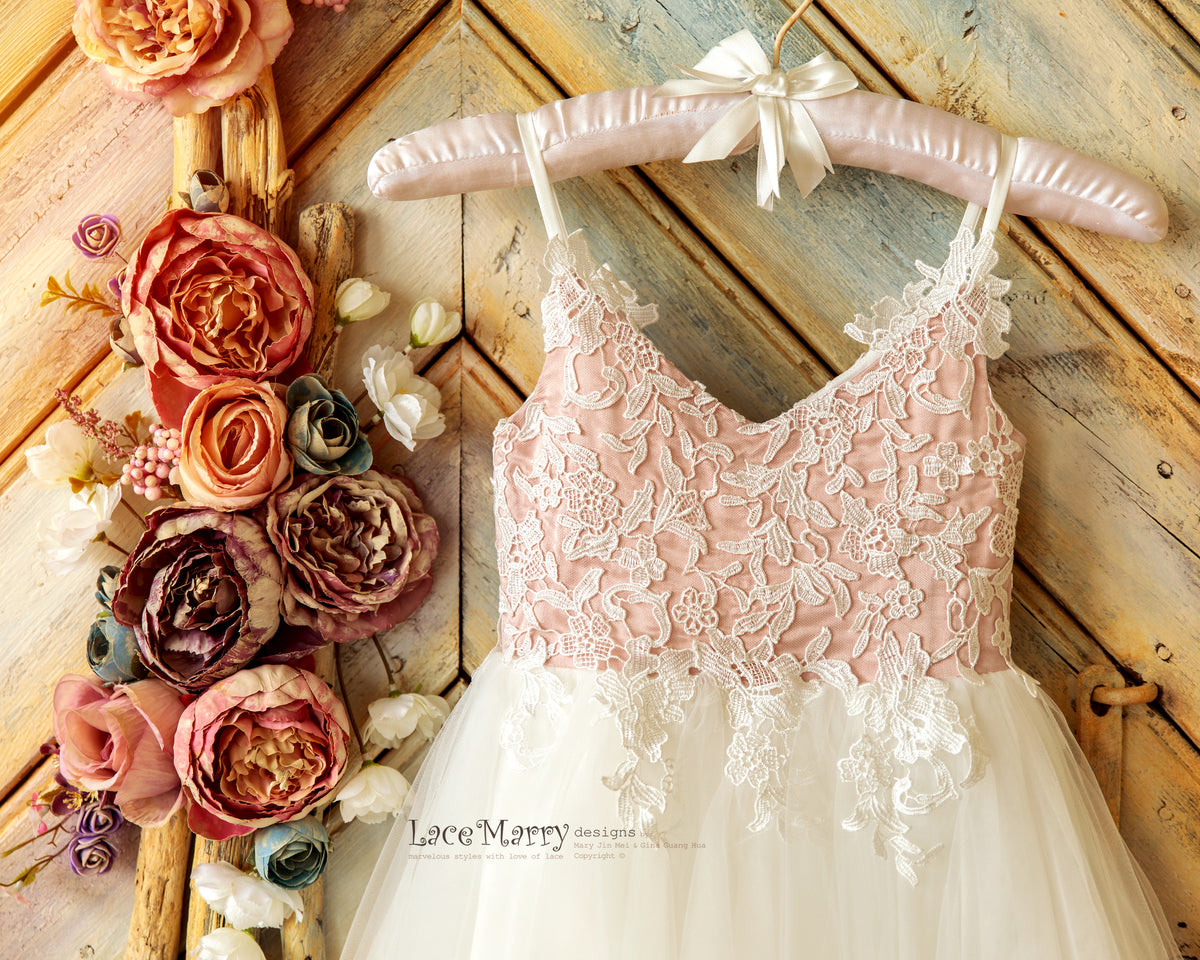 V Neck Flower Girl Dress with Straps